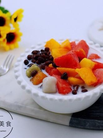 椰浆红豆芋圆水果捞的做法