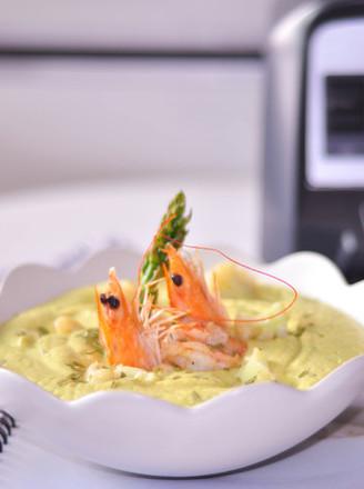大虾毛豆花椰菜浓汤的做法