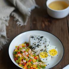 彩椒虾丁+海苔饭团(辅食)