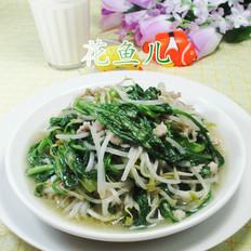 肉丝蒿菜炒绿豆芽