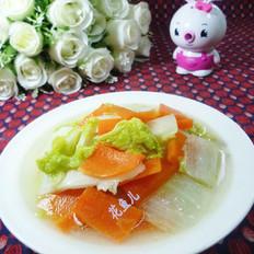 胡萝卜炒黄芽菜