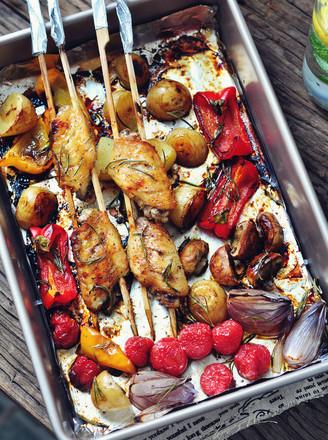 黑椒鸡翅烤蔬菜的做法