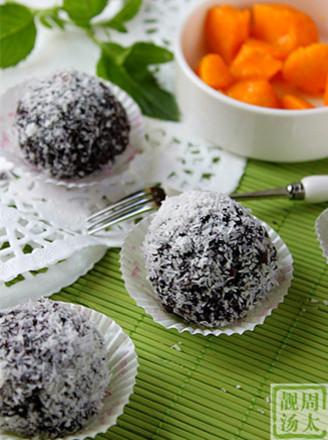 紫米椰香芒果球的做法