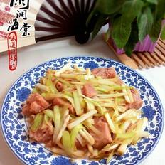韭黄炒午餐肉