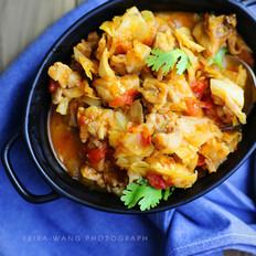 茄汁卷心菜炖鸡肉
