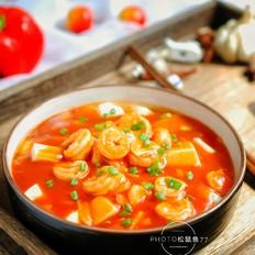 番茄豆腐烩虾球