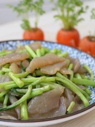藜蒿炒魔芋豆腐的做法
