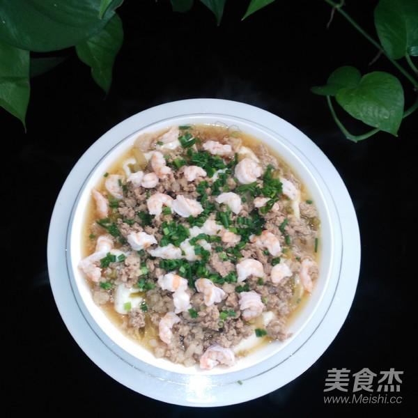 鲜嫩虾仁肉沫蒸豆腐成品图