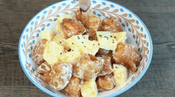 绿茶餐厅最受欢迎的菠萝油条虾,一口吃出幸福感成品图