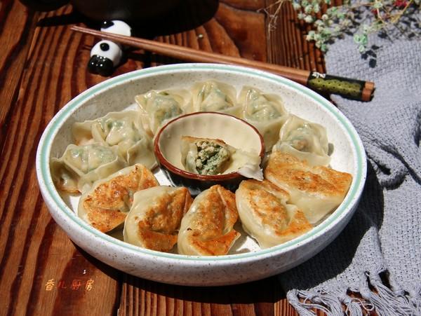 干煎荠菜笋肉馄饨成品图