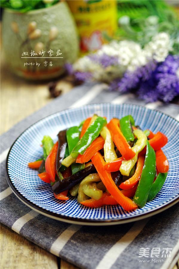 双椒炒紫茄成品图