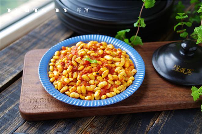 茄汁焗黄豆成品图