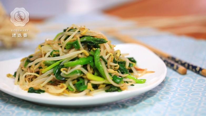 韭菜炒绿豆芽成品图