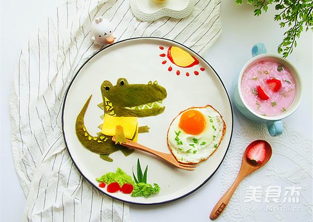 春饼巧做鳄鱼趣味餐成品图