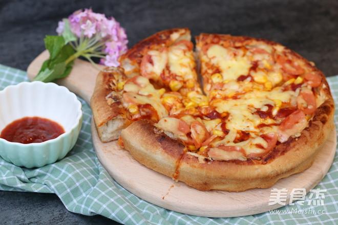 8寸火腿玉米披萨成品图