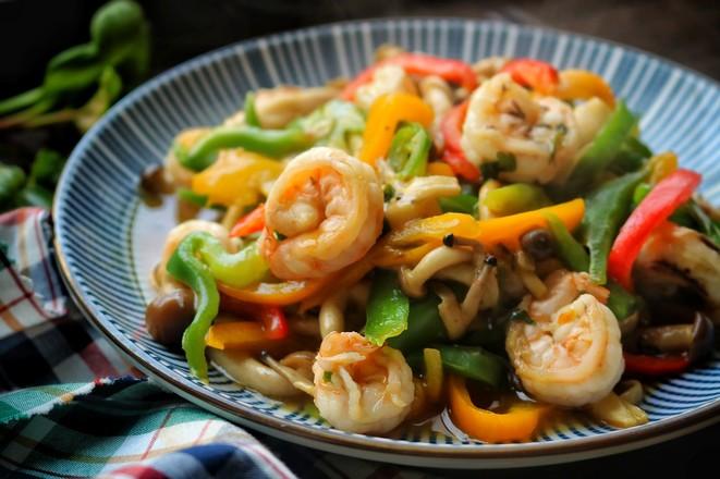 海鲜菇炒虾仁成品图