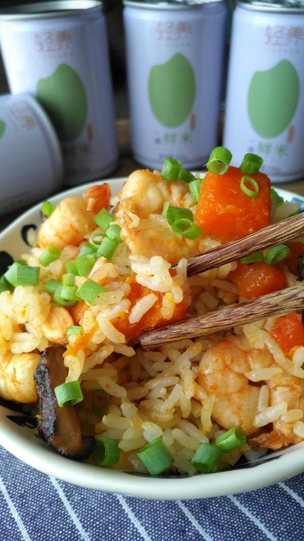 南瓜虾仁焖饭成品图