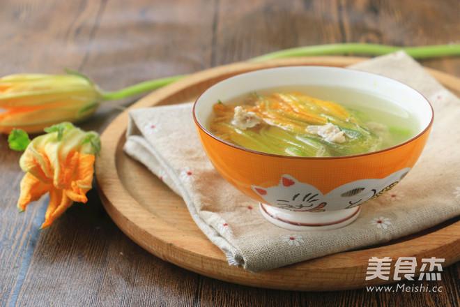 南瓜花瘦肉汤成品图