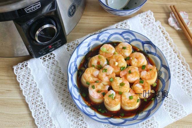 日本豆腐蒸虾仁成品图