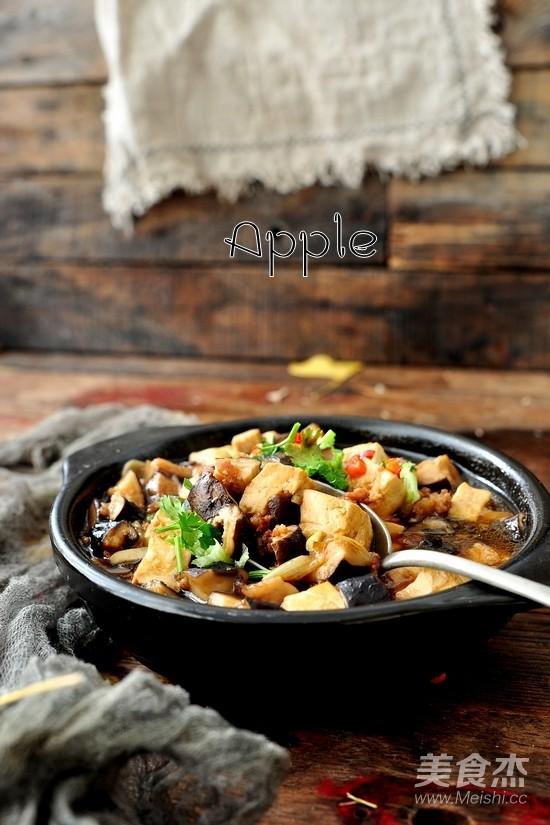 香菇肉末豆腐煲成品图