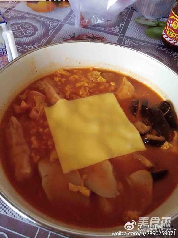 韩式年糕火锅面成品图