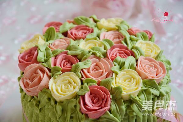 玫瑰花束海绵蛋糕成品图