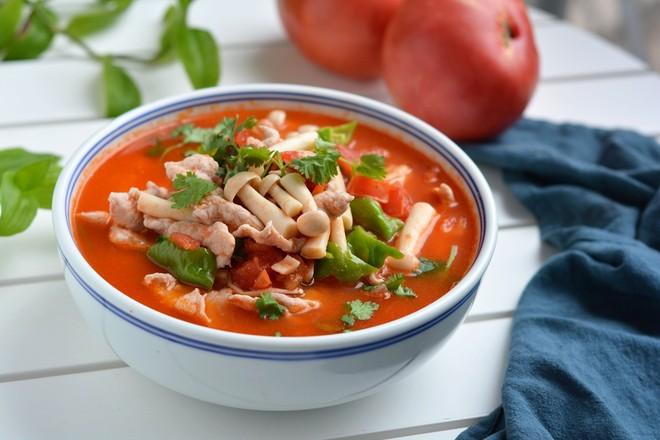 美食DIY——番茄蘑菇肉片汤