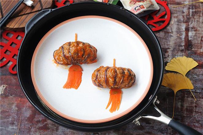 给小朋友定制的年夜菜——灯笼茄子成品图