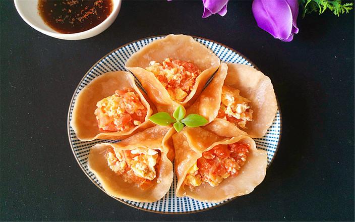 美味番茄鸡蛋饺子成品图