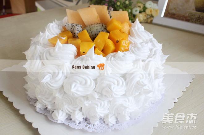 超简单水果蛋糕成品图