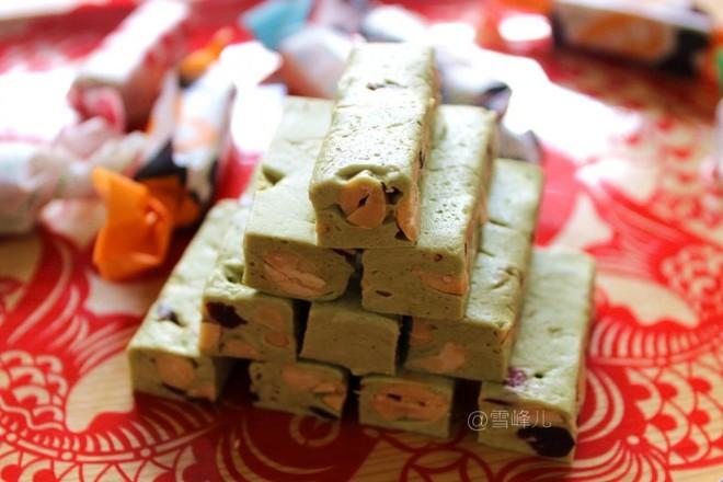 抹茶牛轧糖成品图