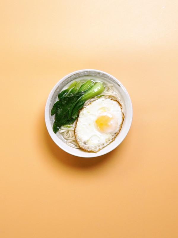 青菜鸡蛋面成品图