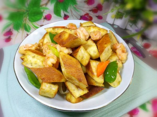 虾仁炒发面饼成品图
