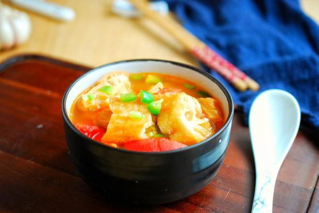 番茄油条汤成品图
