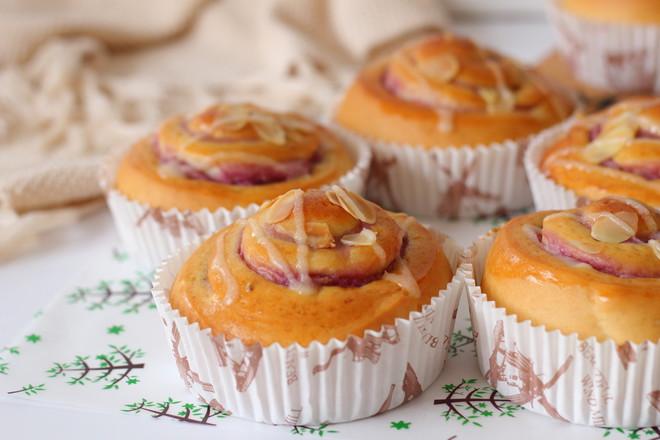 香芋紫薯面包卷#早餐#的制作方法