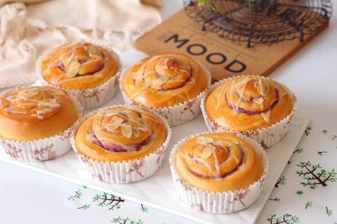 香芋紫薯面包卷#早餐#的制作大全