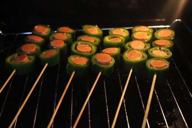 烤辣椒火腿串怎么做