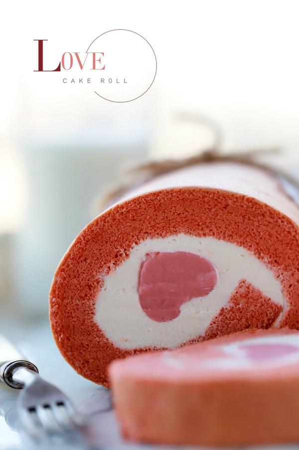 爱心蛋糕卷成品图