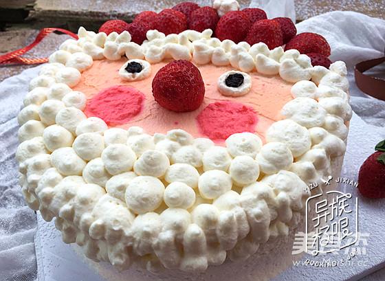 草莓圣诞老人蛋糕成品图