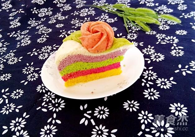 美丽的彩虹发糕成品图