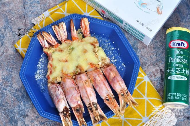 芝士蒜香红虾成品图