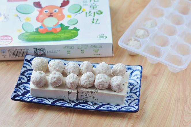 五彩丸子蒸豆腐的家常做法