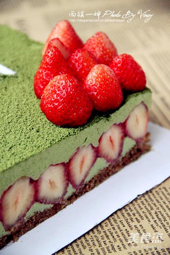 抹茶冻芝士蛋糕成品图